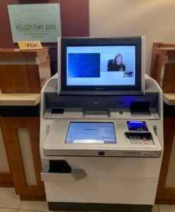 image of live interactive teller machine inside of a building